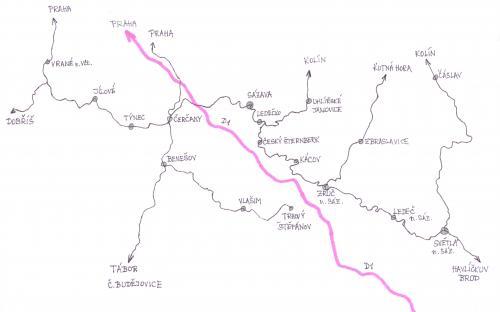 Mapka Posázavského Pacifiku - na jihovýchod od Prahy
