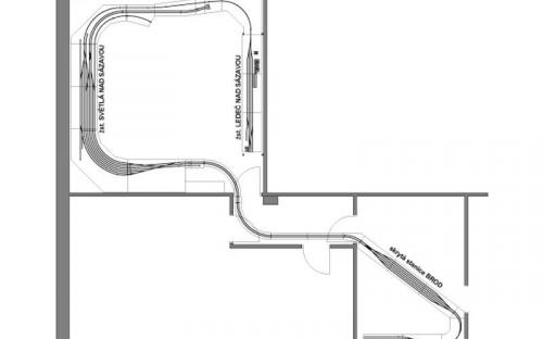 Původní plánek kolejiště s celkovou délkou cca 32 metrů