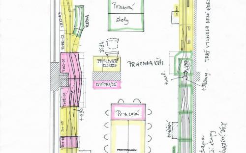 Náčrt nového plánu části kolejiště srpen 2020 (červená = Etapa 1)